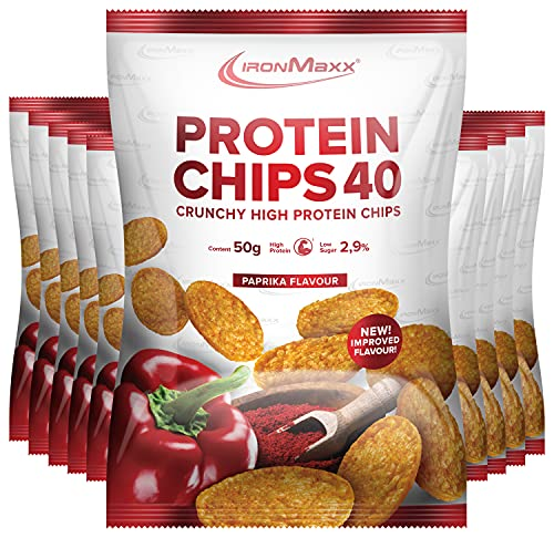 IronMaxx Protein Chips 40 High Protein Low Carb, Geschmack Paprika, 10x 50 g Beutel (10er Pack)